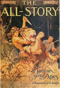 The very first appearance of Tarzan, in All Story magazine, October, 1912.